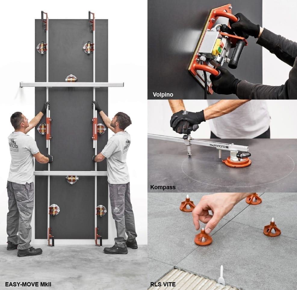Tools for handling and installing large format tiles